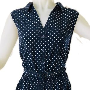 Charter Club Dresses - Classic Navy + White Polka Dot Sleeveless Dress